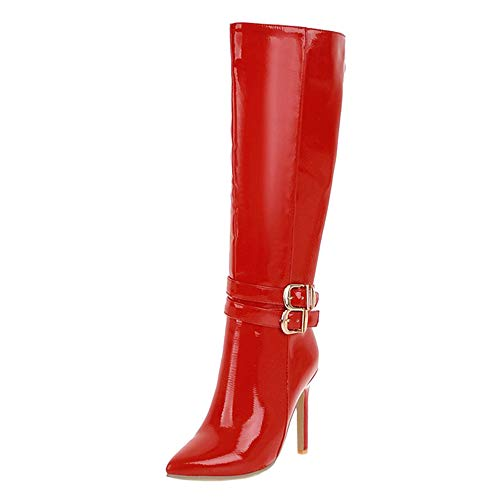 Damen Mode Knee High Boot Stiletto Heels Zipper Hohe Stiefel Lace up Party Stiefel Red Gr 39