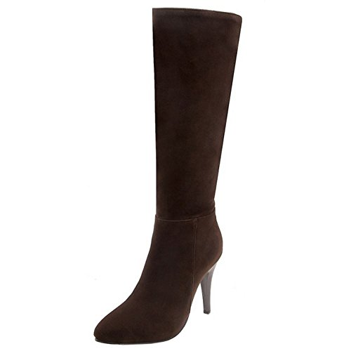 Zanpa Mode Damen Lange Stiefel Zipper Long Party Winterschuhe Heels Brown Gr 44