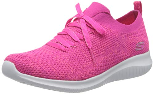 Skechers Damen Ultra Flex Sneaker, Pink Hot Pink Strick Mesh Trim Hpk, 40 EU