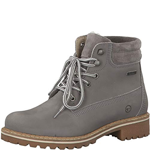 Tamaris Damen Stiefeletten 26244-23, Frauen Schnürstiefelette, elegant Women's Women Woman Freizeit leger Stiefel Chukka,Light Grey,37 EU / 4 UK