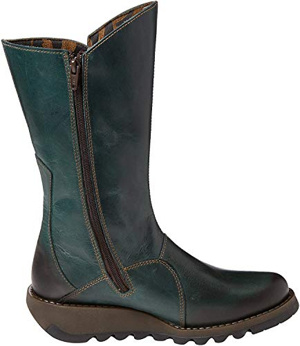 Fly London Mes 2, Damen Langschaft Stiefel , Grün(Petrol 017), 39 EU (6 Damen UK)