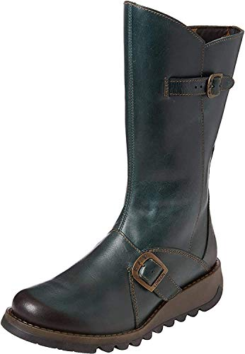 Fly London Mes 2, Damen Langschaft Stiefel , Grün(Petrol 017), 40 EU (7 Damen UK)