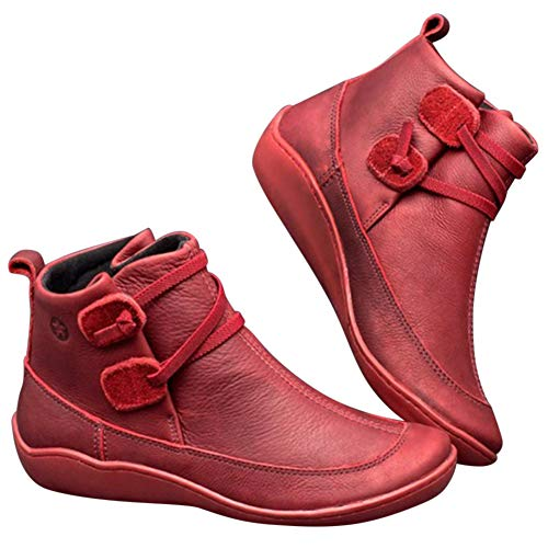 Huaheng Women Winter Snow Boots Leather Ankle Spring Flat Shoes Woman Short Boots New