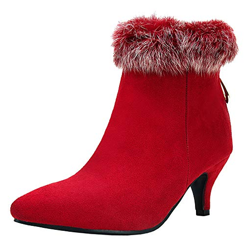 Lydee Damen Sweet Stiefeletten Kitten Heels Zipper Büro Stiefel Party Heels Herbst Booties Red Gr 34