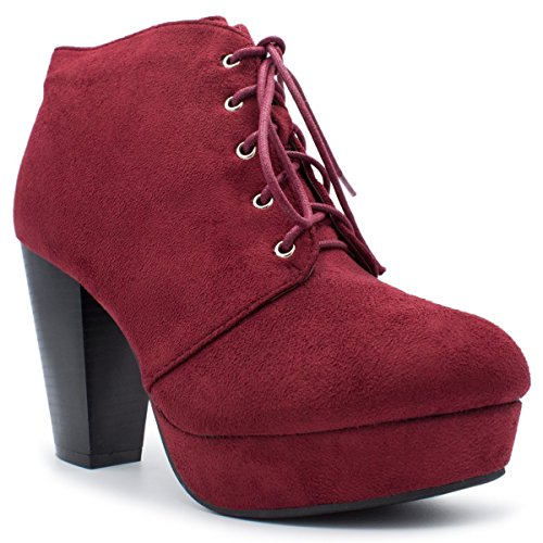 Forever Camille-86 Damen Comfort Stacked Chunky Heel Lace Up Stiefeletten, (Burgund Ts), 37 EU