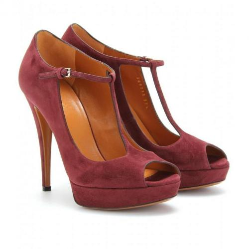 Gucci Betty T-Strap-Pumps aus Veloursleder Scarlatto