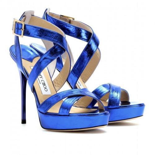 Jimmy Choo Vamp Sandalen aus Geprägtem Leder Blau