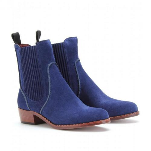 Marc by Marc Jacobs Clippy Chelsea Boots aus Veloursleder Crosta Ink/Tape Black