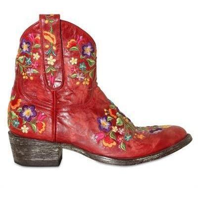 Mexicana - 40mm Leder Bestickte Blumen Stiefel