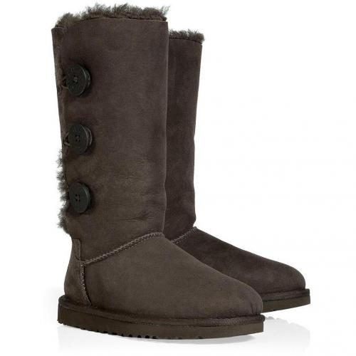 UGG Australia Chocolate Bailey Button Triplet Boots